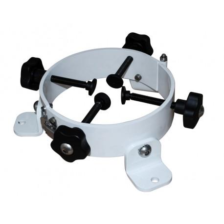 Fixation pour 3 appareils pour mât, circulaire ouvrant avec charnière et grenouillère Blanc