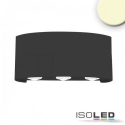 Applique LED direct/indirect 6*1W CREE, IP54, noir sable, blanc chaud