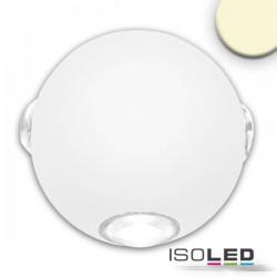 Lot de 2 Appliques LED direct/indirect 4*1W CREE, IP54, blanc sable, blanc chaud