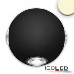 Lot de 2 Appliques LED direct/indirect 4*1W CREE, IP54, noir sable, blanc chaud